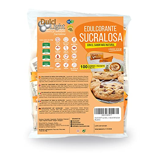 DULCILIGHT sucralosa edulcorante Natural 100 Sobres, granulado con fibra vegetal. El sabor natural del azúcar
