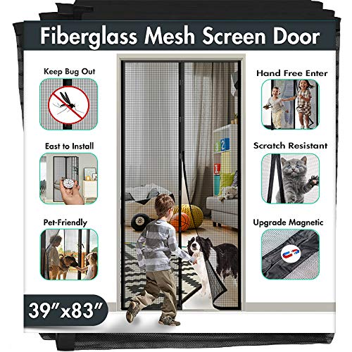IKSTAR 39'x83' Fiberglass Magnetic Screen Door Upgrade Reinforced Mesh Curtain, Magnet Closure with Hands-Free, Keep Bugs/Flys/Mosquitoes Out, Kids Pets Friendly for Front, Back, Sliding Doors