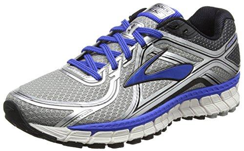 Brooks Mens Adrenaline GTS 16 Silver/Electric Brooks Blue/Black Sneaker 10 D (M)