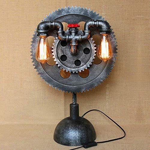 Industriel Retro Steampunk tafellamp creatieve gear bureaulamp dubbele kop E27 knutselen rustiek smeedijzer kantoor lamp woonkamer nachtlampje