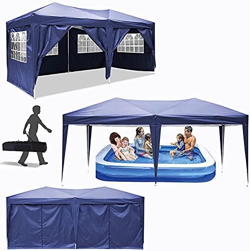 Hiriyt Pavillon Falt Pavillon 3x3m/ 3x6m Wasserdicht Faltbare Gartenpavillon Festival Sonnenschutz Faltpavillon, UV-Schutz 50+ Ideal für Garten, Terrasse, Grillpartys, 6...