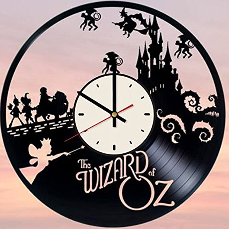 Pieceful The Wizard Of Oz Vinyl Record Wall Clock Dorothy Gale Clock Gift Idea For Birthday Christmas Women Men Friends Girlfriend Boyfriend And Teens Living Kids Room Nursery White Black
