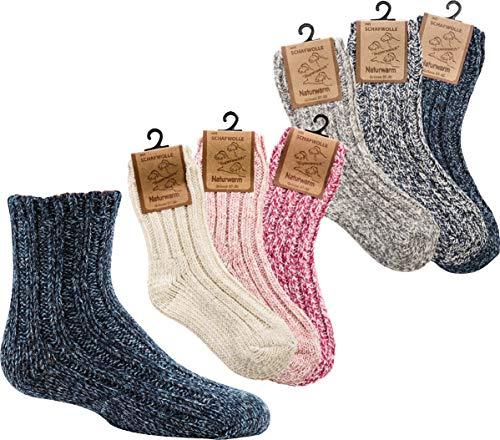 Socks PUR Norweger SÖCKCHEN Wolle - FÜR Babys & Kids 3er- BÜNDEL (31-34, Mädchen: rosa Mix)