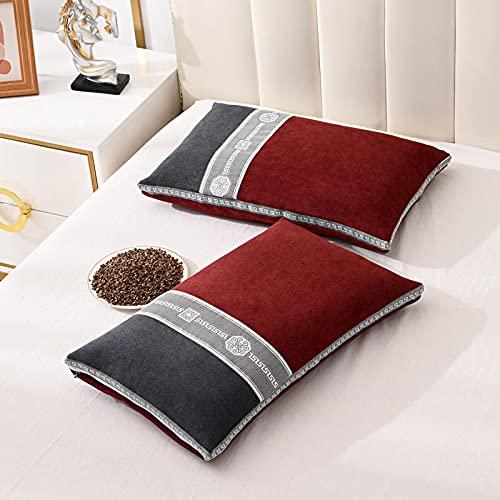 MRBJC Almohadas suaves para soporte de cuello, almohada de salud ortopédica para dormir, almohada lateral para dormir de apoyo suave cervical rojo 35 x 55 cm