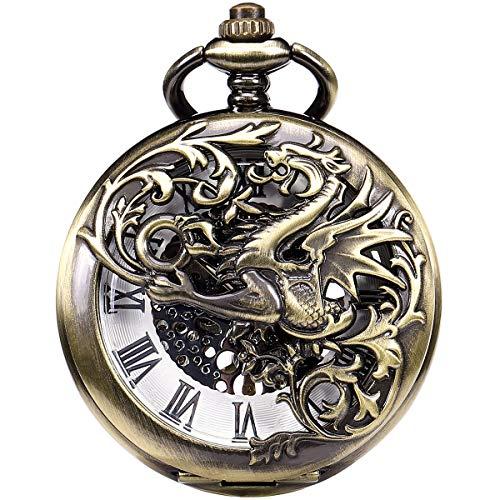 Pocket Watch, ManChDa Pocket Watch Lucky Dragon & Phoenix Vintage Mechanical Steampunk Skeleton Roman Numerals Fob Watch with Chain for Men Women(Bronze)