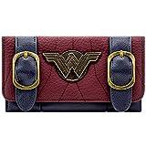 Cartera de DC Wonder Woman Placa de Plata Hebilla de Correa Rojo