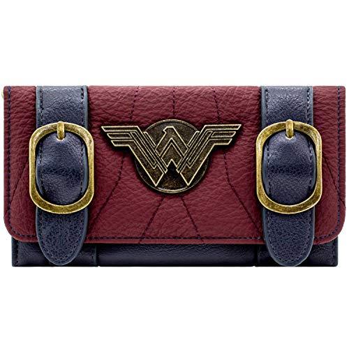 DC Wonder Woman Silbernes Abzeichen Schnalle Gurt Rot Portemonnaie Geldbörse