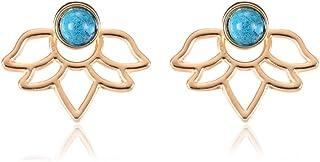 Fashion Hollow Lotus Flower Earrings Crystal Simple Chic Stud Earrings