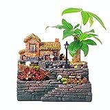 Garten Gusseisen Dekoration Waldfee Garten Miniatur Stump Baum Skulptur Blumen Pflanzen Sukkulenten (Farbe : Tree House, Größe : 21.5cm*24cm*14cm)