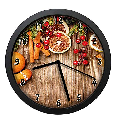 EaYanery Rustic Composition with Holly Berry Orange Slice Cinnamon And Biscuit Brown Orange Red Wall Clock Home Decor 10in Non-Ticking Silent Decorative Clocks