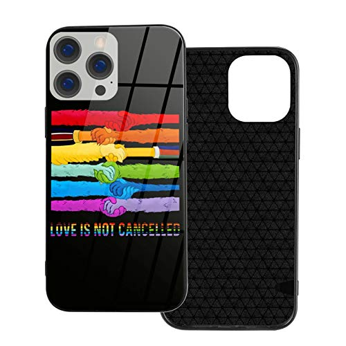 Funny LGBT Muppet Hands Love is Not Cancelled Phone Cases for 12/12 Pro/ 12 Mini/12 Pro Max Protective Shell with Scratch-Resistant Glass On The Back