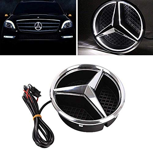 GUXINHOME The Star Emblem LED Luminous Logo Center Front Badge Light in Front of The Car, Suitable for Mercedes-Benz 2013-2015 A B C E R GLK ML GL CLA CLS Clas,Black