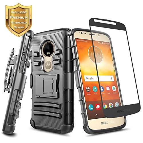 Moto E5 Play Case, Moto E5 Go/Moto E5 Cruise w/[Tempered Glass Screen Protector], NageBee Belt Clip Holster Heavy Duty Shockproof Kickstand Combo Rugged Case for Motorola Moto E Play 5th Gen -Black