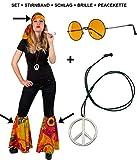 Panelize Hippieset bestehend aus Stirnband 2X Schlag Brille und Peacekette Sparpaket