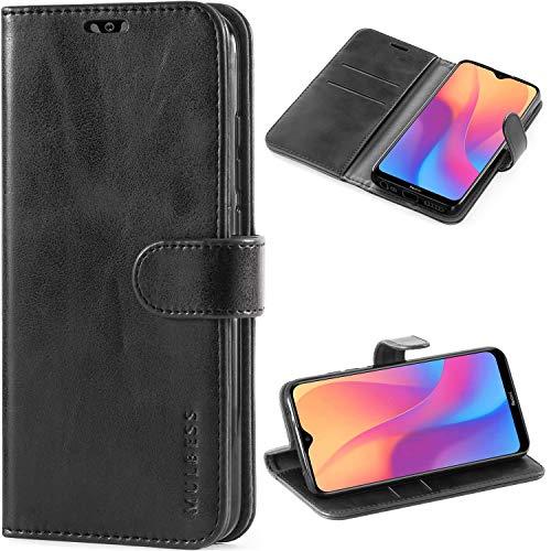 Mulbess Handyhülle für Xiaomi Redmi 8A Hülle Leder, Xiaomi Redmi 8A Handy Hüllen, Vintage Flip Handytasche Schutzhülle für Xiaomi Redmi 8A Hülle, Schwarz