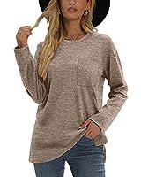 XIEERDUO Long Sleeve Tshirts For Women Women's Tunic Tops For Leggings Khaki S