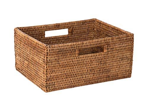 KOUBOO La Jolla Rattan Shelf Handles, Medium, Honey-Brown Storage Basket,