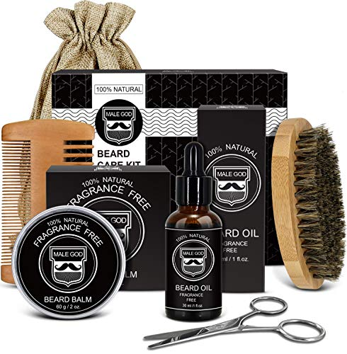 Beard Kit, Beard Grooming Kit for Men Gifts, Natural Organic Beard Oil, Beard Balm, Beard Comb, Beard Brush, Beard Scissors, Gift Box, Canvas Carry Bag and E-Book, Beard Care Beard Gifts for Men