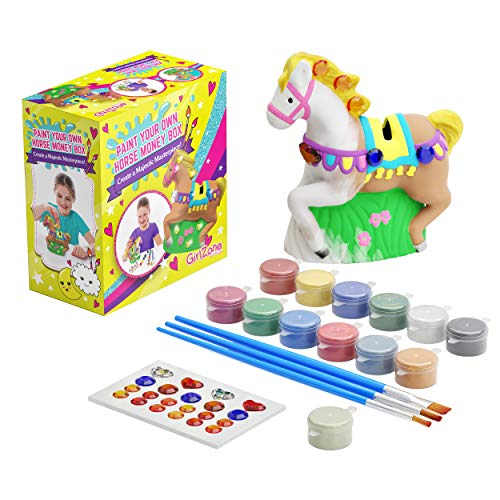 GirlZone Regalos para Niñas - Hucha Caballo para Pintar - Kit Pintura para Niñas y Accesorios Infantiles -Pinceles, Colores y Gemas 3 a 12 años Cumpleaños y Fiestas