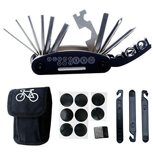 DAWAY Multitool Fahrrad Reparatur Set - B32 Fahrrad Werkzeug Reparaturset, 16 in 1 Multifunktionswerkzeug, Reifenheber, Selbstklebendes Fahrradflicken Inbegriffen, 6 Monate Garantie