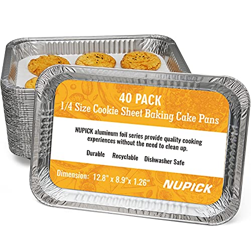 """NUPICK (40 Pack) 1/4 Size Sheet Cake Aluminum Foil Pan, Premium Heavy Duty 12.8"""" x 8.9"""" Disposable Aluminum Foil Trays, Perfect for cookie sheet baking cake, bake sales, events, and transporting food"""