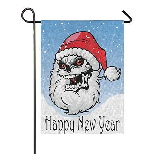 AEMAPE Feliz Año Nuevo con Calavera Santa Bandera Jardín Estacional con Banderas
