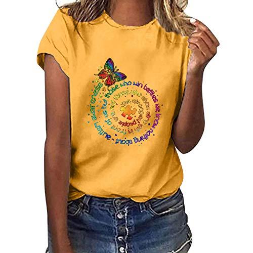 Camiseta de manga corta para mujer, diseño de girasol, estilo informal, básico, cuello redondo, para adolescentes, niñas, camisas, blusa, túnica, fitness, sudadera (C-amarillo, XXL)