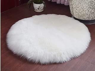 WaiiMak Soft Faux Sheepskin Fur Area Rugs for Bedside Floor Mat Plush Sofa Cover Seat Pad (White)