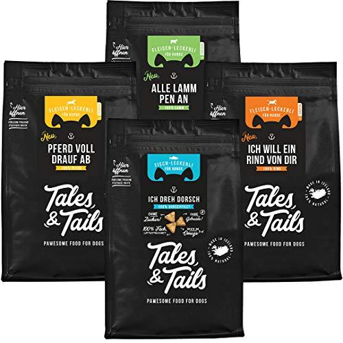 Tales and Tails Trainingsmix I Monoprotein I 100% Fisch I 100% Fleisch I Probierpaket Trainingsleckerli I getreidefrei, zuckerfrei I 4 Tüten - Verschiedene Sorten