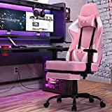 Storm Racer Ergonomic Gaming Chairs High Back Computer Chair of Professional Racing Style Comfortable Gamer Chair with Footrest and Massage Backrest and Lumbar Pillows (Pink)