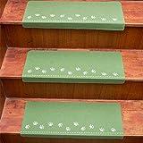 QWF Treppenstufen Teppich 13 Stück leuchtender Selbstklebender, Rutschfester, klebender Boden Treppenschutzfolie Treppenteppiche Schutz Bärentatzenmuster Boden für Treppenstufenschutz - 7