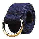 CLOOM cintura uomo Cinture Per Uomo Elastico Pantaloni Casual Pantaloni Multicolore Cinture Di Tessuto Uomo Doppio ciclo cintura di tela Cintura e donne studenti Belt (Blu scuro, 1PC)