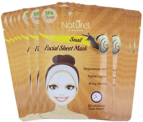 Snail Mask Sheet Korean Face Mask 12 Pack for Anti-Aging and Brightening