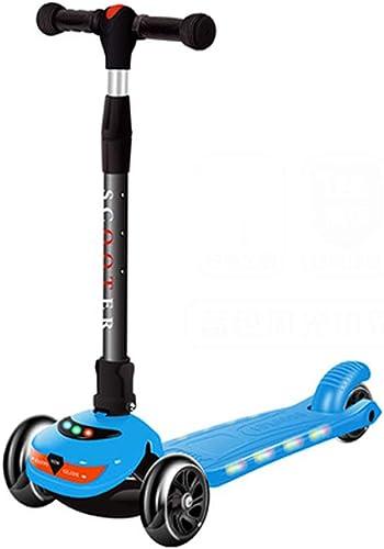 CCDYLQ 3-Rad-Scooter für Kinder mit Einer Sekundenfaltfunktion und PU-Laufr rn, 4 h nverstellbarer Roller für Kinder, Kinder von 3-12 Jahren,Blau