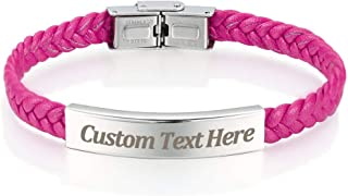 Leather Classic Braided Rope Bracelet Custom Engraved Message Stainless Steel Bangle Unisex Gift