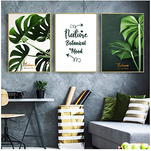 Canvas Schilderij Nordic Green Leaf Decor Home Nature Letter Minimalist Picture Green Plant Leaf Poster Wall Decor-50x70cm (19.7