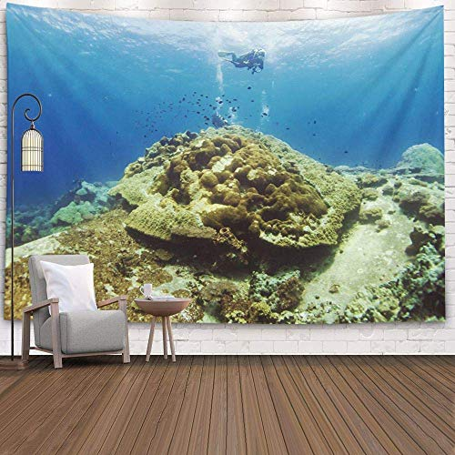 N\A Tapiz de Pared, tapices Deacutecor para Sala de Estar para el hogar por Printed for Coral Reef Underwater with Fishs, Gris Dorado