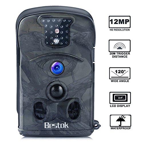 Bestok Wildkamera Fotofalle Full HD 12MP 120° Breite Jagdkamera Vision Infrarote 20m Nachtsicht wasserdichte Gartenkamera 2.4
