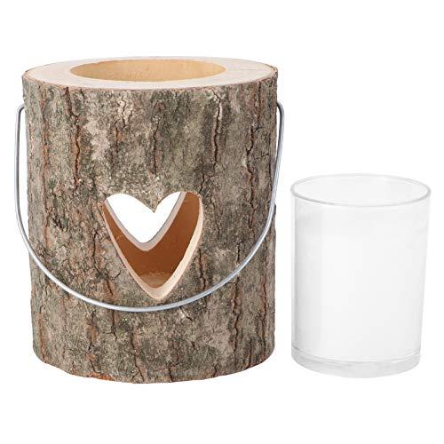 Cabilock Kerzenhalter Herz Holz Baumstamm Kerze hängend Laterne Teelichthalter Kerzenhalter Romantik Kerzenschein rustikale Tisch Deko für Verliebte Paare Hochzeit Valentinstag