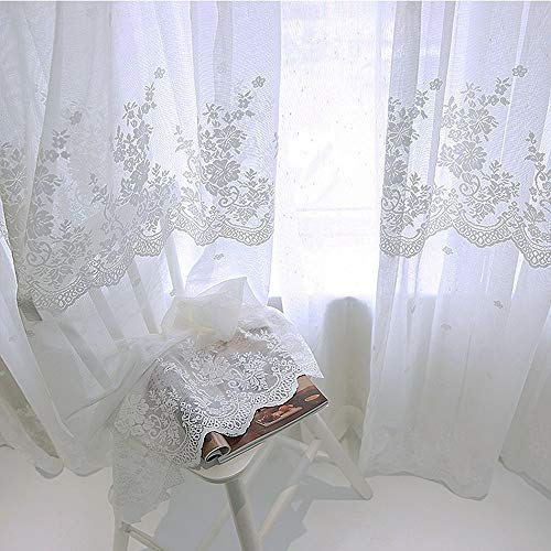 WINYY Romantic White Lace Curtain for Sliding Glass Door Parlor Floral Drape Window Treatment Rod Pocket Top Sheer Curtain Voile Cafe Home Decor 1 Panel (39 Inch Wide, 63 Inch Long)