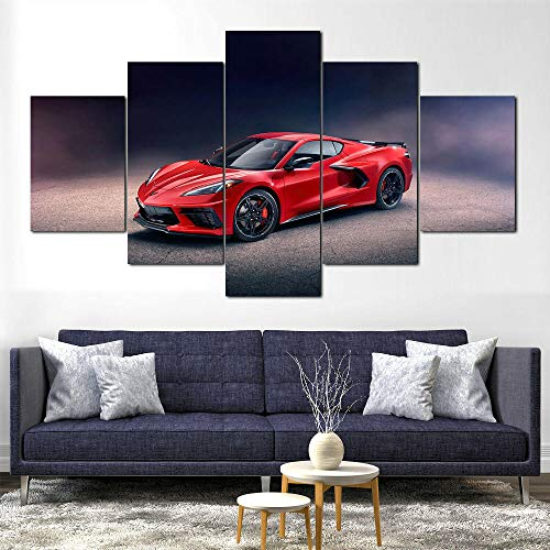 GHYTR Imagen sobre Lienzo Cuadros Abstractos Modernos XXL Poster 5 Piezas Chevrol Corvette Stingray Z51 Arte De Pared Imágenes Modulares Sala De Estar Decoración para El Hogar 150X80Cm