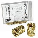 ruthex inserto filettato M2 (70 pezzi) - zoccoli filettati in ottone RX-M2x4 - dado a pres...