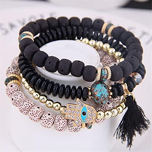 XinLuMing 3 Sets Bohemian Stretch Beads Pulseras para Mujeres niñas Bolas de múltiples Filas Pulsera Pulsera apilable Conjunto, el número compartido de Pulseras es de 2 Piezas (Color : 18)