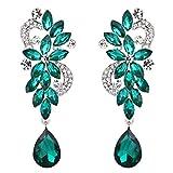 Clearine Mujer Bohemian Cristal Flor Boda Nupcial Candelabro Lagrima Bling Dangle Pendientes Emerald Color