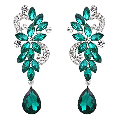 Clearine Mujer Bohemian Cristal Flor Boda Nupcial Candelabro Lagrima Bling Dangle Pendientes Emerald Color