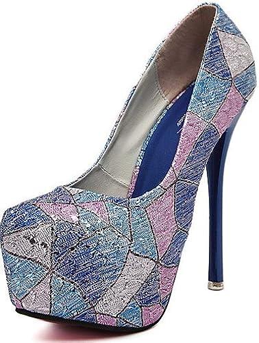 GGX  Chaussures Femme-Habillé    Soirée & EvéneHommest-Bleu   Rose-Talon Aiguille-Confort   Bout Arrondi-Chaussures à Talons-Polyuréthane  le magasin