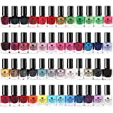 50 x Esmalte De Uñas Conjunto 48 Colores Diferentes 2 Clavos Etiquetas Engomadas Del Arte 2 Cajas...
