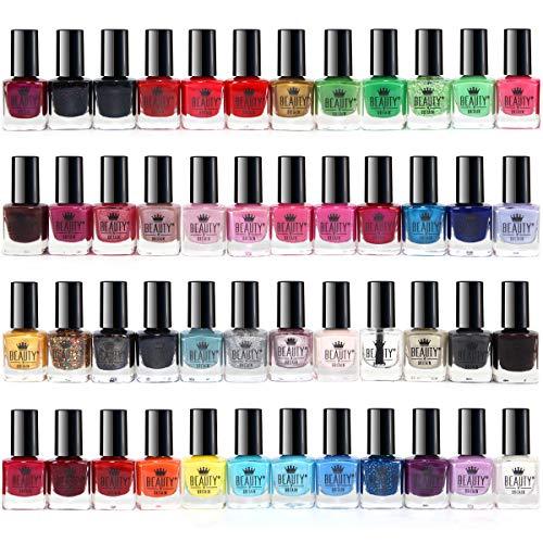 50 x Esmalte De Uñas Conjunto 48 Colores Diferentes 2 Clavos Etiquetas Engomadas Del Arte 2 Cajas De Visualización