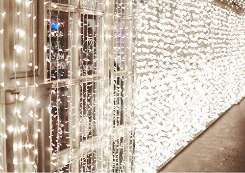 600 LED Catena IDESION 6M x 3M Tenda di Luci con 8 Modalità di Illuminazione, Barriera Fotoelettrica a LED per Camera or Esterno Luci Decorative Luci Natalizie per Atmosfera Romatica(Bianco Freddo)
