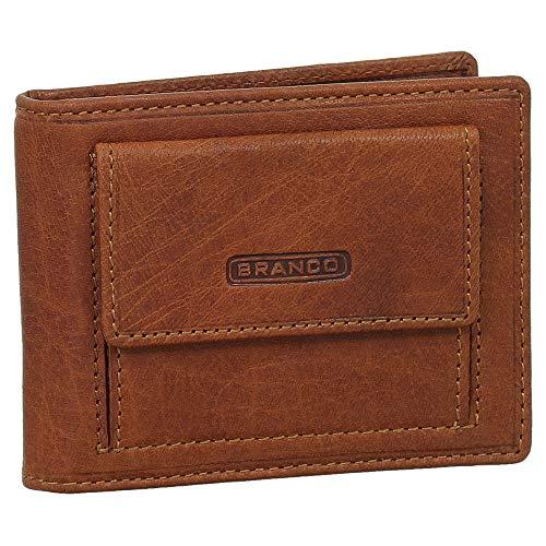 Leder Dollarclip Geldbörse mit Münzfach Geldbeutel Portemonnaie Farbe Cognac